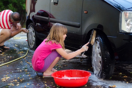 Family Washing Car